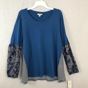 Style & co crew neck long sleeve blouse